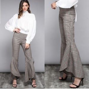 Pants - NEW Flare Plaid Trousers